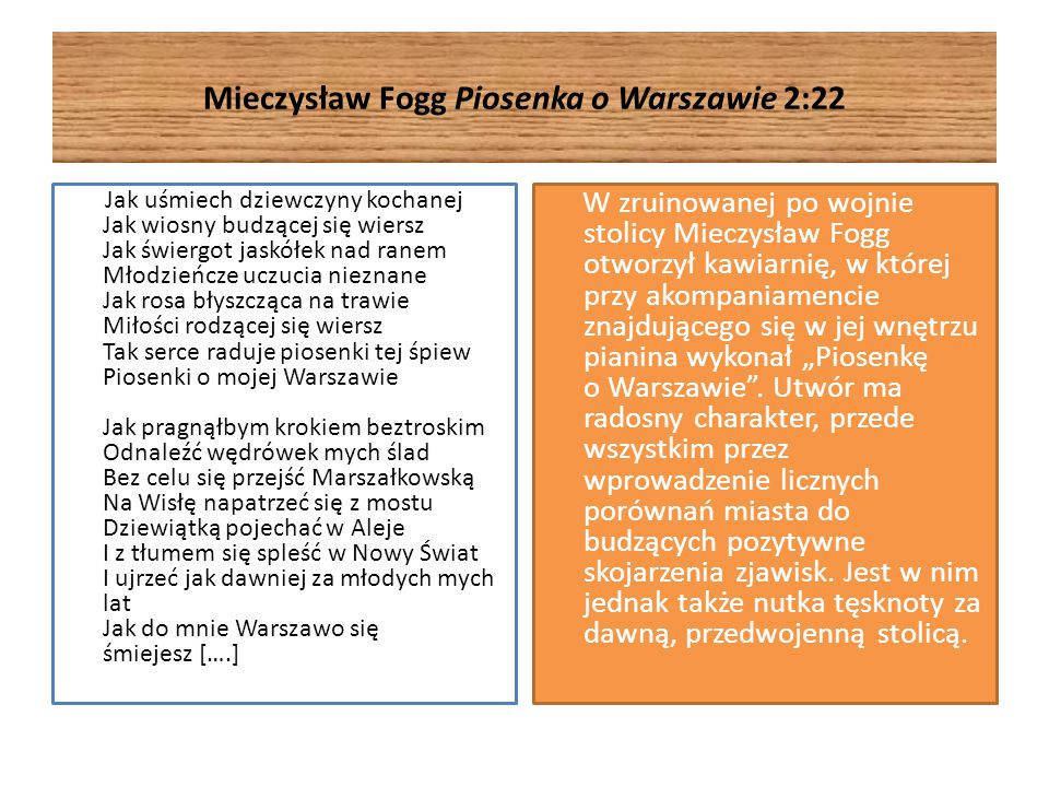 Mieczysław Fogg Piosenka o Warszawie 2:22 Jak uśmiech dziewczyny kochanej Jak wiosny budzącej się wiersz Jak świergot jaskółek nad ranem Młodzieńcze u