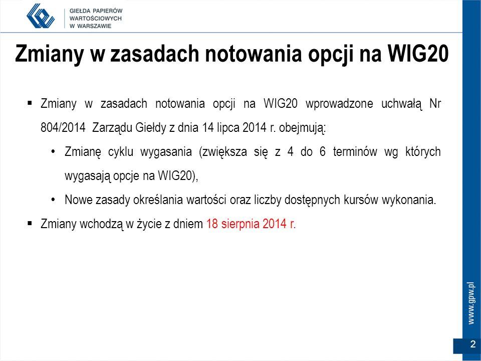 2 Zmiany w zasadach notowania opcji na WIG20  Zmiany w zasadach notowania opcji na WIG20 wprowadzone uchwałą Nr 804/2014 Zarządu Giełdy z dnia 14 lip