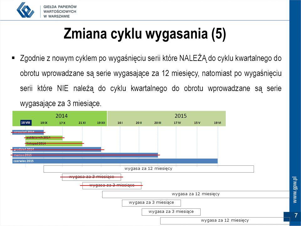 8 Więcej oznaczeń miesięcy wykonania (1)  Wraz z pojawieniem się nowych miesięcy wygasania w nazwie skróconej dla opcji na WIG20 zostaną po raz pierwszy użyte nowe literowe oznaczenia dla miesięcy wykonania.