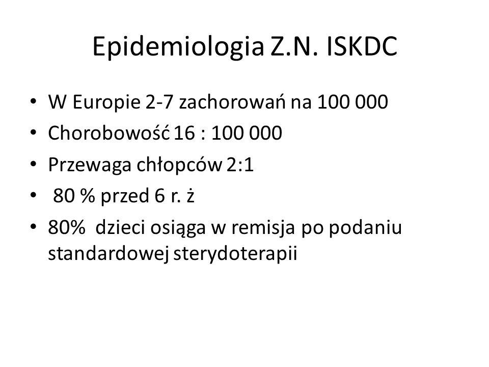 Epidemiologia Z.N. ISKDC W Europie 2-7 zachorowań na 100 000 Chorobowość 16 : 100 000 Przewaga chłopców 2:1 80 % przed 6 r. ż 80% dzieci osiąga w remi