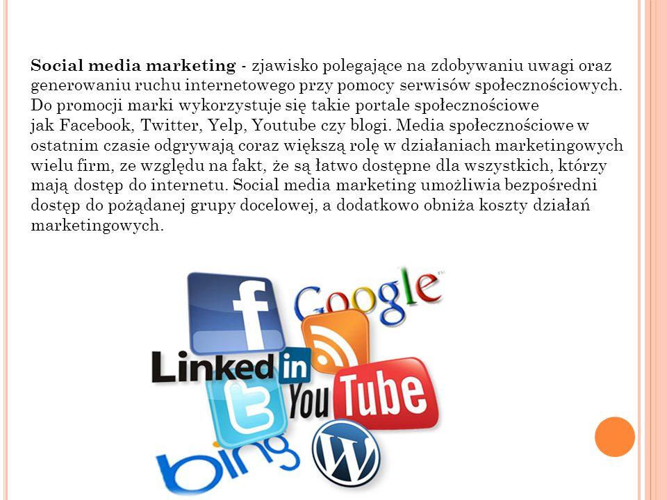 Social media marketing - zjawisko polegające na zdobywaniu uwagi oraz generowaniu ruchu internetowego przy pomocy serwisów społecznościowych. Do promo