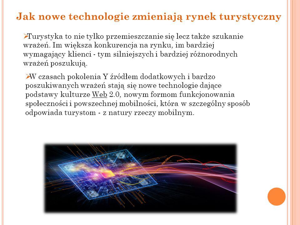  Szanse, jakie stwarzają nowe technologie w obszarze marketingu przedsiębiorstw i regionów turystycznych (nowe oferty, nowe formy sprzedaży, innowacyjne narzędzia promocji i utrzymywania relacji z nabywcami) niestety idą w parze z zagrożeniami (niedobory wiedzy i kompetencji w obszarze IT, słaba znajomość nowych narzędzi konkurowania, nowe podmioty pojawiające się na rynku turystycznym, ryzyko utraty miejsca na rynku przez starych usługodawców).