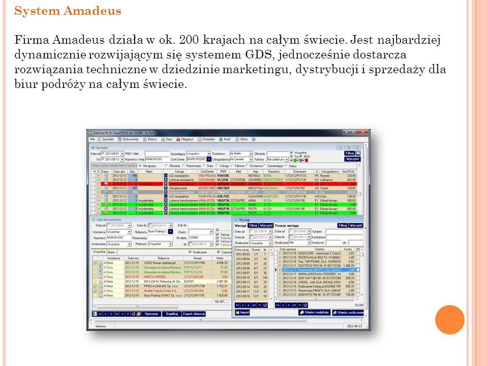 System Amadeus Firma Amadeus działa w ok. 200 krajach na całym świecie. Jest najbardziej dynamicznie rozwijającym się systemem GDS, jednocześnie dosta