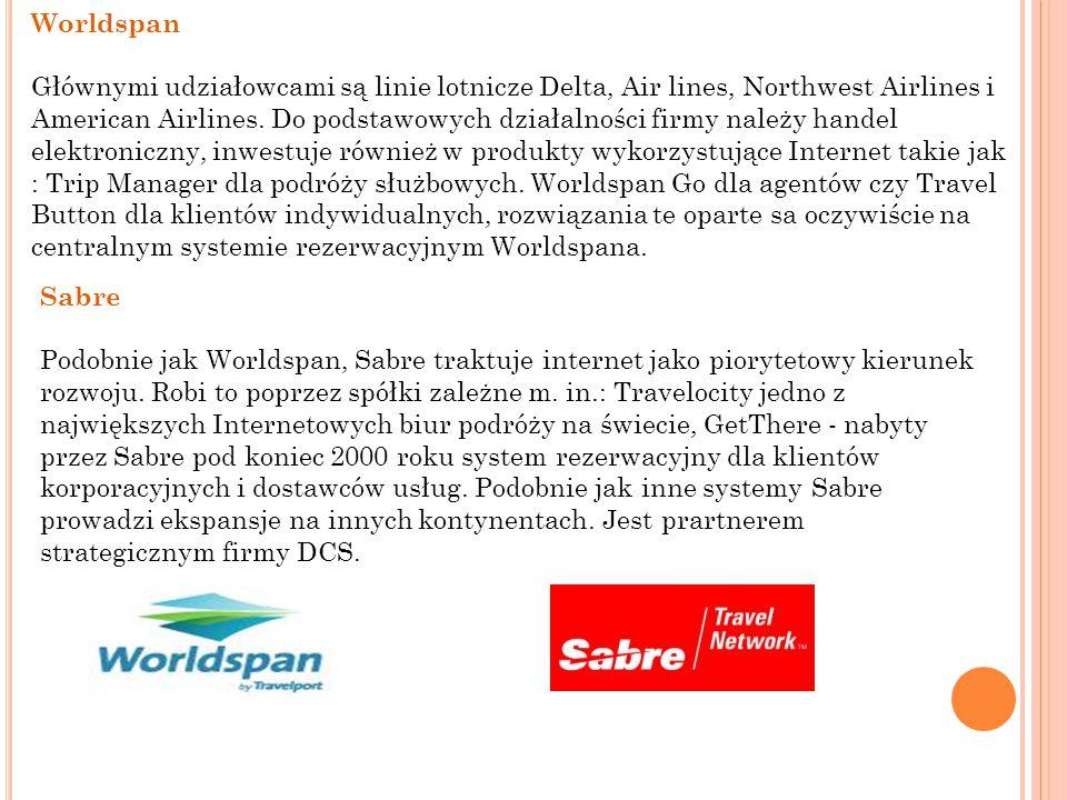 Worldspan Głównymi udziałowcami są linie lotnicze Delta, Air lines, Northwest Airlines i American Airlines. Do podstawowych działalności firmy należy