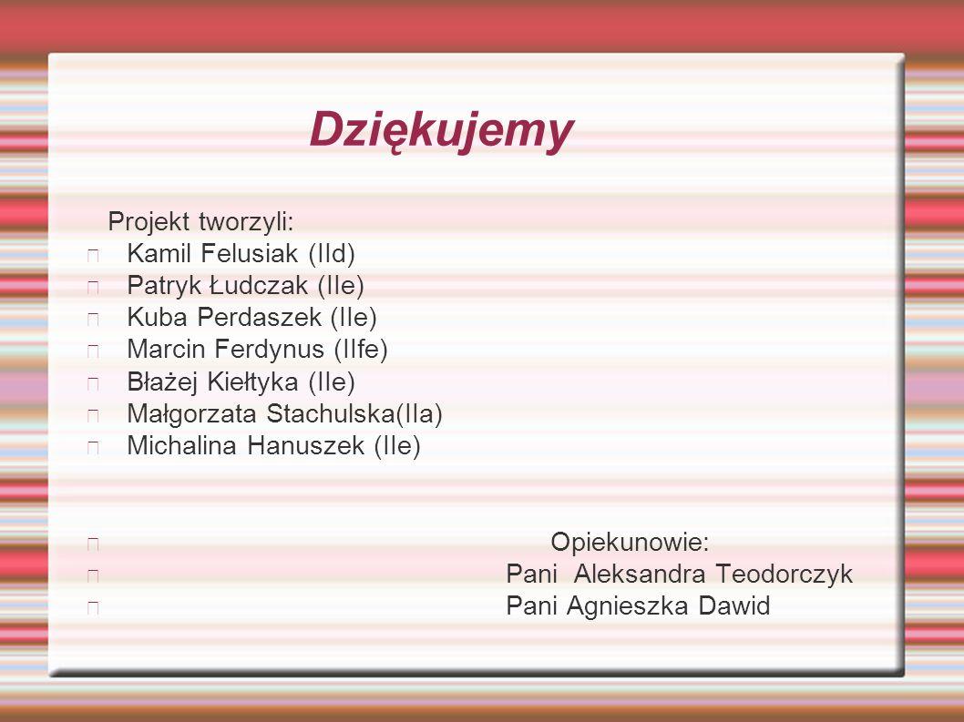 Dziękujemy Projekt tworzyli: Kamil Felusiak (IId) Patryk Łudczak (IIe) Kuba Perdaszek (IIe) Marcin Ferdynus (IIfe) Błażej Kiełtyka (IIe) Małgorzata St