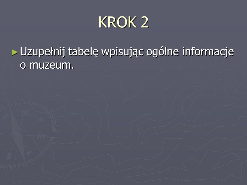 KROK 2 ► Uzupełnij tabelę wpisując ogólne informacje o muzeum.