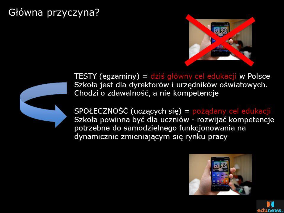 Główna przyczyna? TESTY (egzaminy) = dziś główny cel edukacji w Polsce Szkoła jest dla dyrektorów i urzędników oświatowych. Chodzi o zdawalność, a nie