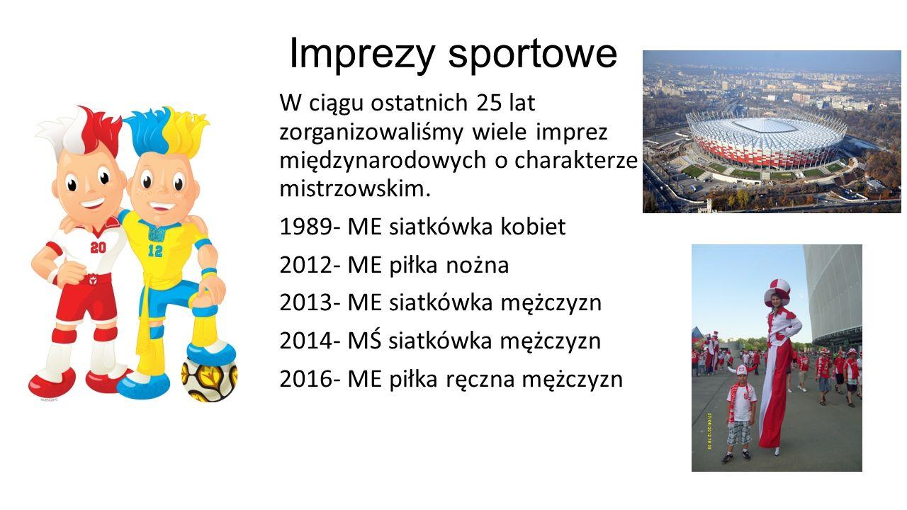 Imprezy sportowe W ciągu ostatnich 25 lat zorganizowaliśmy wiele imprez międzynarodowych o charakterze mistrzowskim. 1989- ME siatkówka kobiet 2012- M