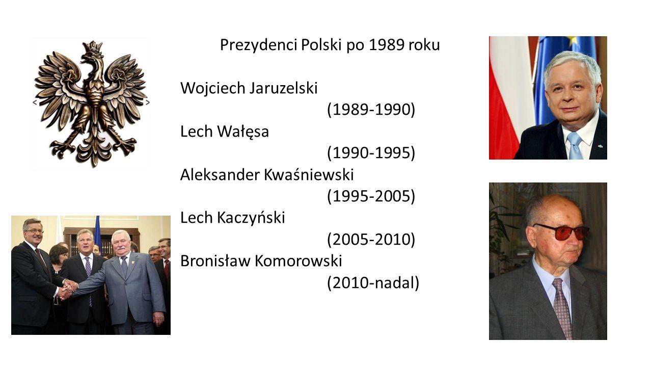 Prezydenci Polski po 1989 roku Wojciech Jaruzelski (1989-1990) Lech Wałęsa (1990-1995) Aleksander Kwaśniewski (1995-2005) Lech Kaczyński (2005-2010) B