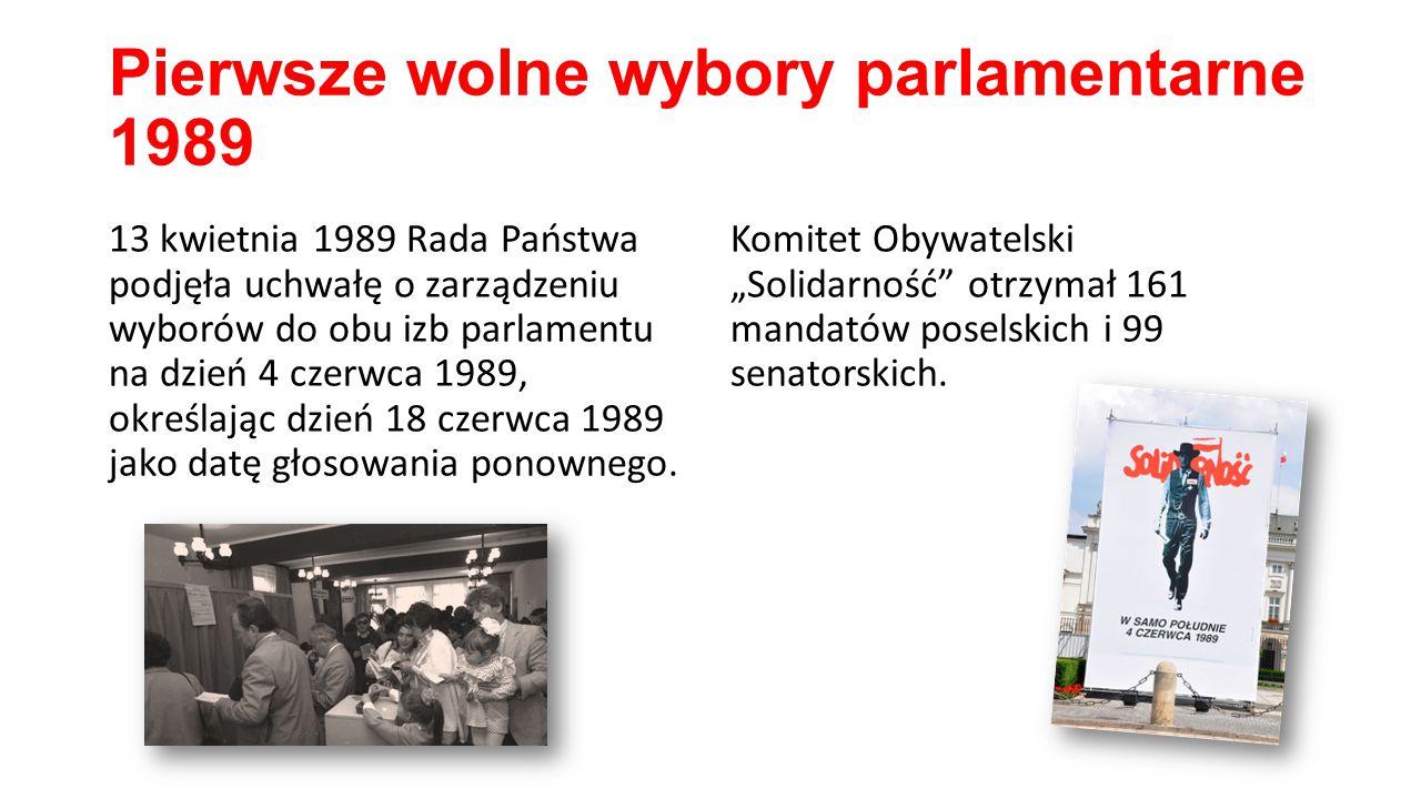 Pierwsze wolne wybory parlamentarne 1989 13 kwietnia 1989 Rada Państwa podjęła uchwałę o zarządzeniu wyborów do obu izb parlamentu na dzień 4 czerwca