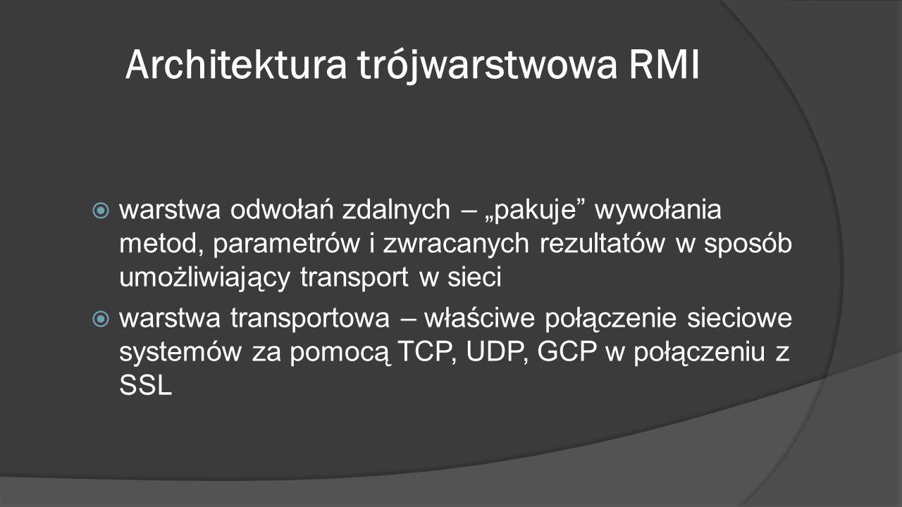 """Architektura trójwarstwowa RMI  warstwa odwołań zdalnych – """"pakuje"""" wywołania metod, parametrów i zwracanych rezultatów w sposób umożliwiający transp"""