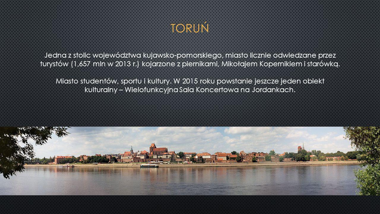 Jedna z stolic województwa kujawsko-pomorskiego, miasto licznie odwiedzane przez turystów (1,657 mln w 2013 r.) kojarzone z piernikami, Mikołajem Kope