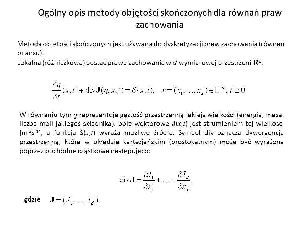 Ogólny opis metody objętości skończonych dla równań praw zachowania Metoda objętości skończonych jest używana do dyskretyzacji praw zachowania (równań bilansu).