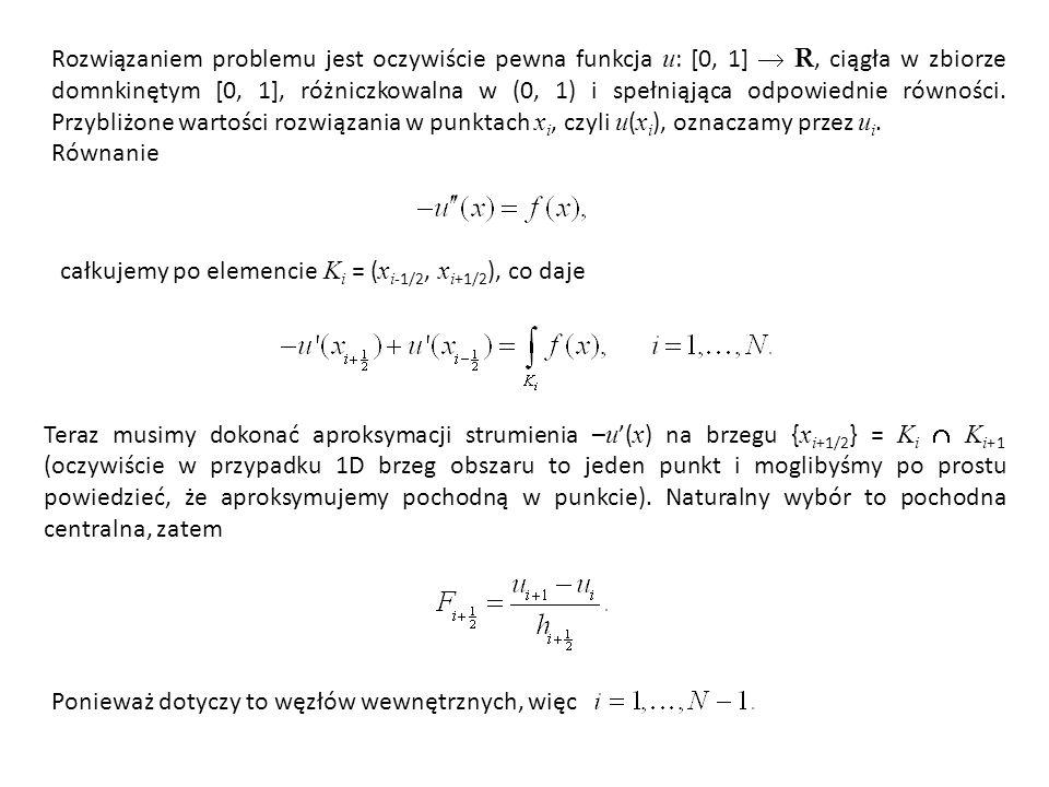 Rozwiązaniem problemu jest oczywiście pewna funkcja u : [0, 1]  R, ciągła w zbiorze domnkinętym [0, 1], różniczkowalna w (0, 1) i spełniąjąca odpowiednie równości.