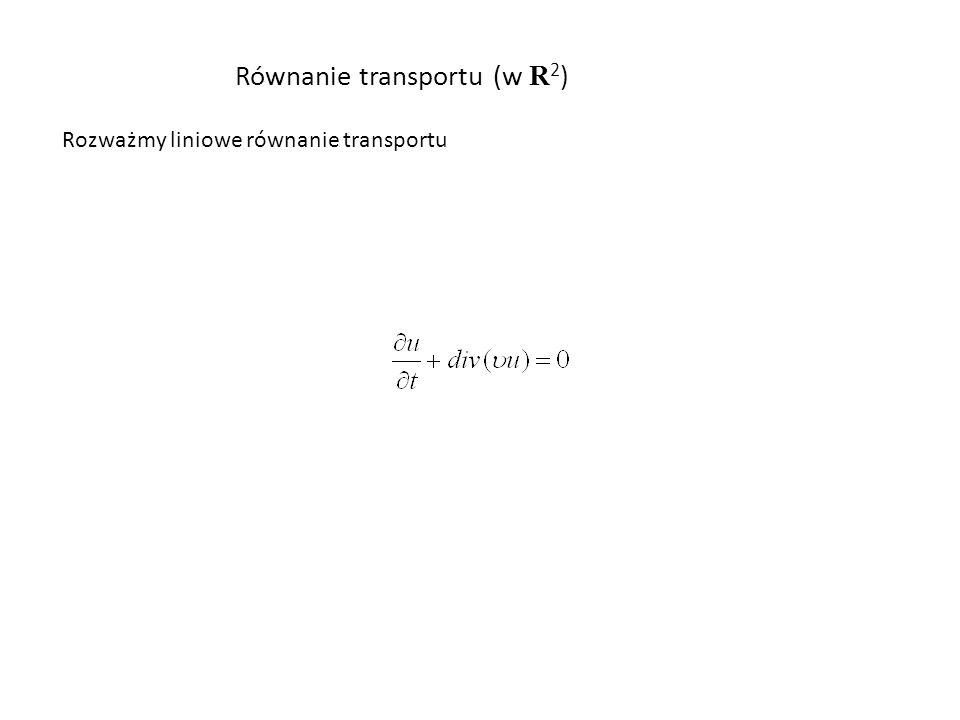 Równanie transportu (w R 2 ) Rozważmy liniowe równanie transportu