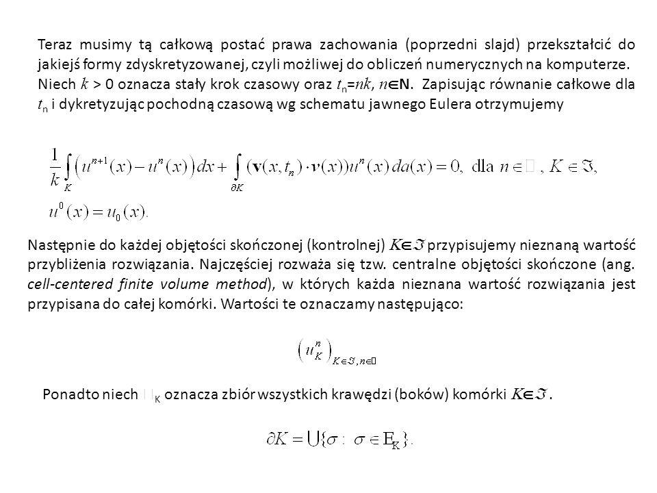Całkę po brzegu możemy teraz zapisać w postaci sumy: gdzie oznacza wektor normalny do  skierowany na zewnątrz komórki K.