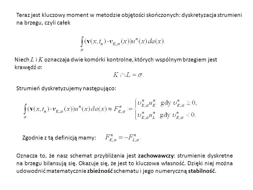 Całkę aproksymujemy natomiast w oczywisty sposób: ponieważ przybliżona wartość związana z komórką K  jest oznaczona przez u n K, więc gdzie | K | oznacza pole powierzchni komórki K (w ogólnym przypadki d - wymiarową objętość, gdy rozważamy równanie w R d ).