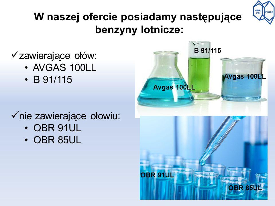 W naszej ofercie posiadamy następujące benzyny lotnicze: zawierające ołów: AVGAS 100LL B 91/115 nie zawierające ołowiu: OBR 91UL OBR 85UL Avgas 100LL