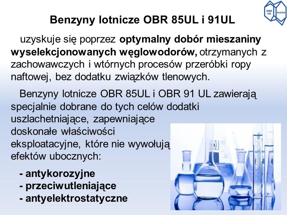 Benzyny lotnicze OBR 85UL i 91UL uzyskuje się poprzez optymalny dobór mieszaniny wyselekcjonowanych węglowodorów, otrzymanych z zachowawczych i wtórny