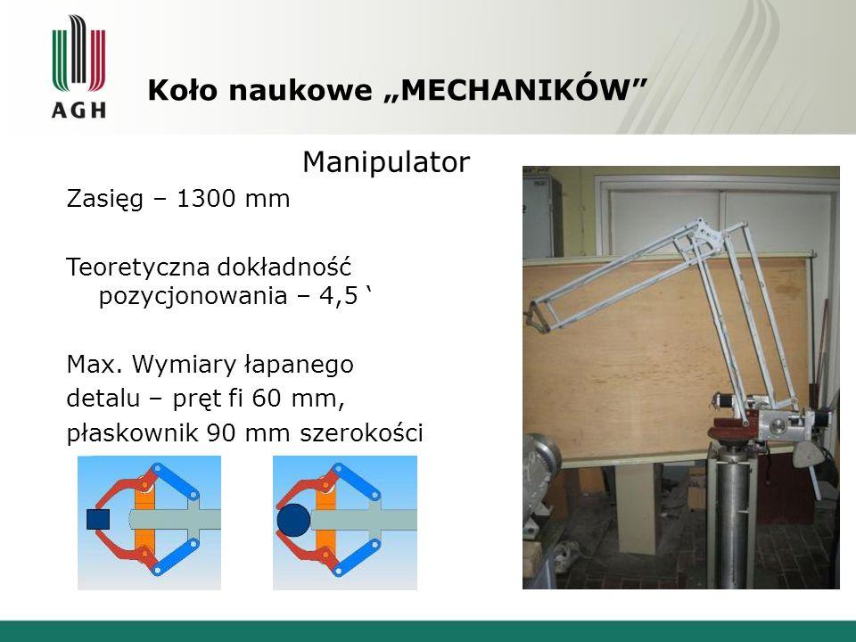 """Koło naukowe """"MECHANIKÓW"""" Manipulator Zasięg – 1300 mm Teoretyczna dokładność pozycjonowania – 4,5 ' Max. Wymiary łapanego detalu – pręt fi 60 mm, pła"""