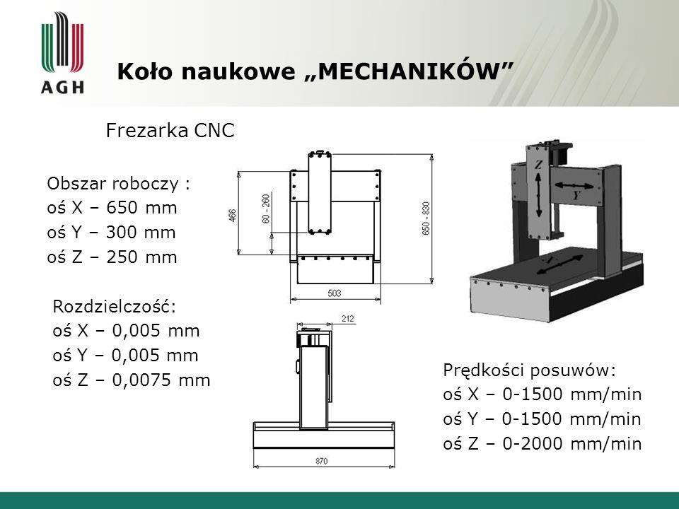 """Koło naukowe """"MECHANIKÓW"""" Frezarka CNC Obszar roboczy : oś X – 650 mm oś Y – 300 mm oś Z – 250 mm Rozdzielczość: oś X – 0,005 mm oś Y – 0,005 mm oś Z"""