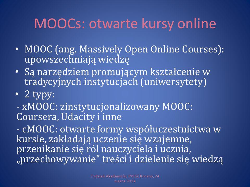 MOOCs: otwarte kursy online MOOC (ang. Massively Open Online Courses): upowszechniają wiedzę Są narzędziem promującym kształcenie w tradycyjnych insty
