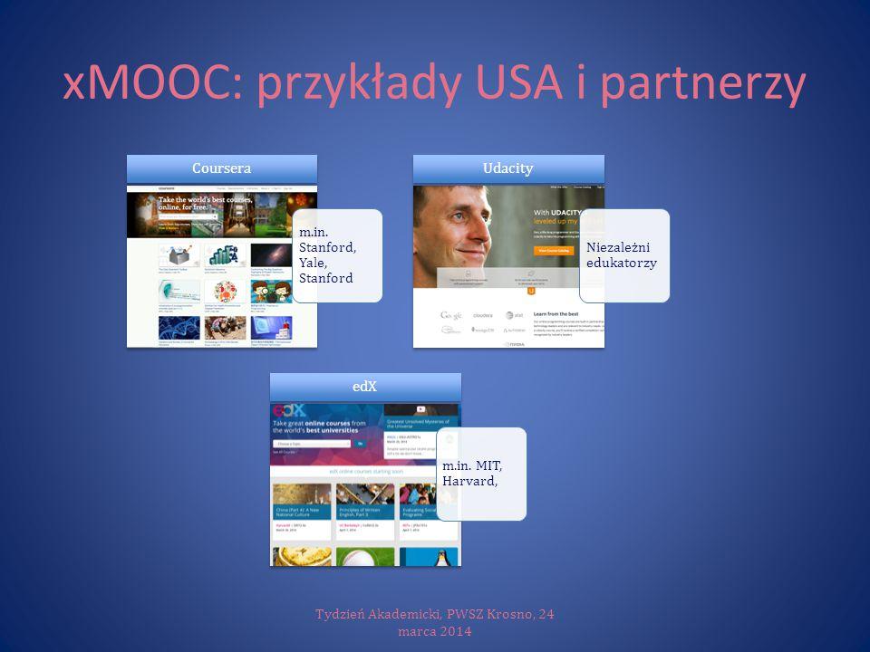 xMOOC: przykłady USA i partnerzy Tydzień Akademicki, PWSZ Krosno, 24 marca 2014 m.in. Stanford, Yale, Stanford Coursera Niezależni edukatorzy Udacity