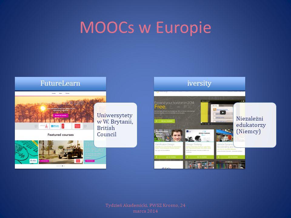 MOOCs w Europie Tydzień Akademicki, PWSZ Krosno, 24 marca 2014 Uniwersytety w W. Brytanii, British Council FutureLearn Niezależni edukatorzy (Niemcy)
