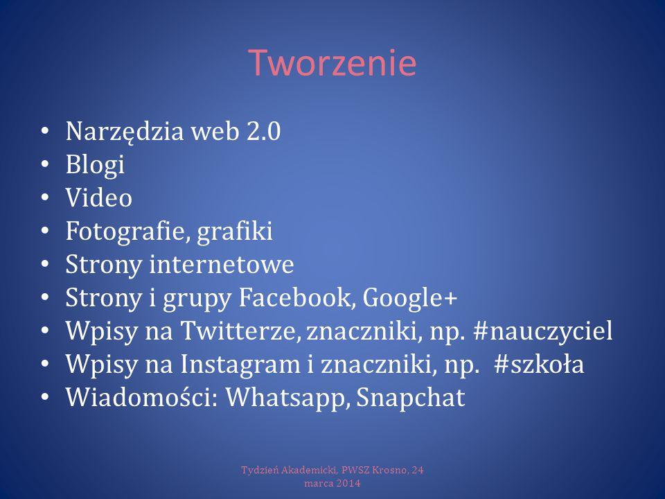 Tworzenie Narzędzia web 2.0 Blogi Video Fotografie, grafiki Strony internetowe Strony i grupy Facebook, Google+ Wpisy na Twitterze, znaczniki, np. #na