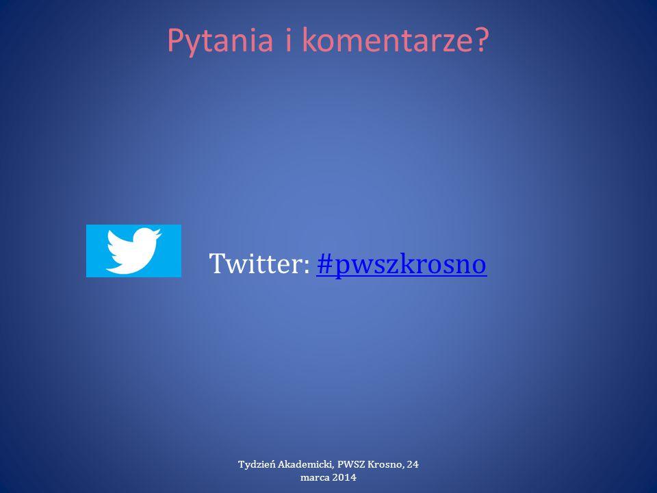 Pytania i komentarze? Twitter: #pwszkrosno#pwszkrosno Tydzień Akademicki, PWSZ Krosno, 24 marca 2014