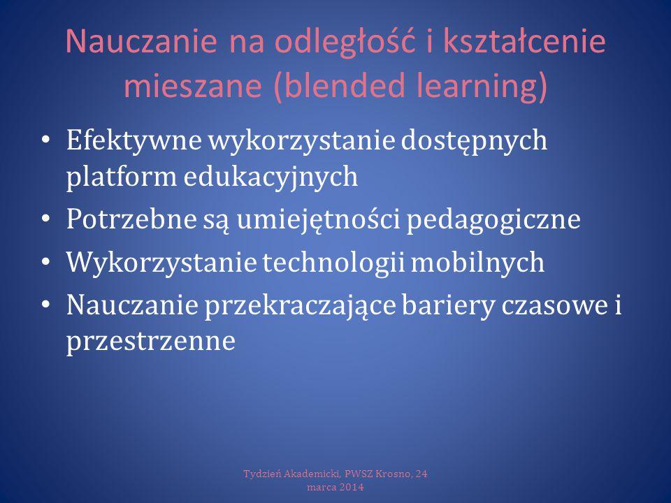 Nauczanie na odległość i kształcenie mieszane (blended learning) Efektywne wykorzystanie dostępnych platform edukacyjnych Potrzebne są umiejętności pe