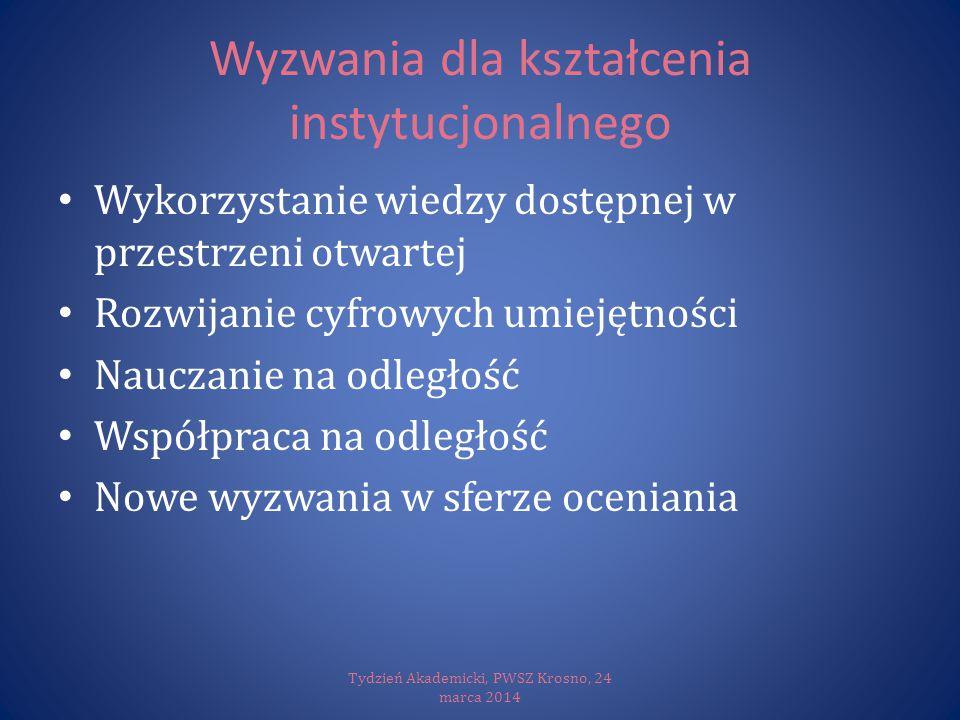 cMOOC: uczenie się w społeczności Tydzień Akademicki, PWSZ Krosno, 24 marca 2014