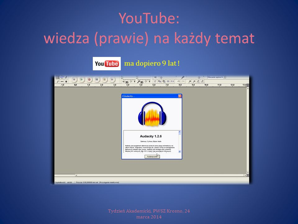YouTube: wiedza (prawie) na każdy temat Tydzień Akademicki, PWSZ Krosno, 24 marca 2014 Yo ma dopiero 9 lat !