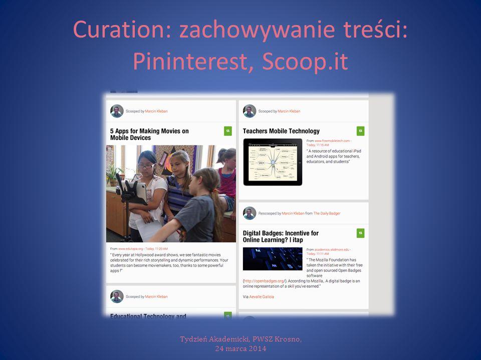 Curation: zachowywanie treści: Pininterest, Scoop.it Tydzień Akademicki, PWSZ Krosno, 24 marca 2014