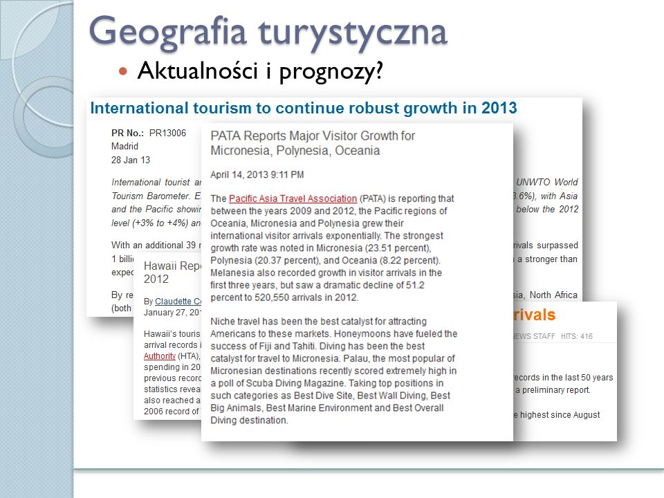 Geografia turystyczna Aktualności i prognozy?