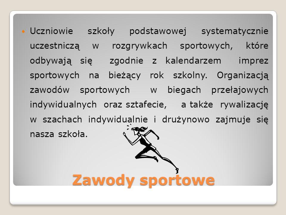 Zawody sportowe Uczniowie szkoły podstawowej systematycznie uczestniczą w rozgrywkach sportowych, które odbywają się zgodnie z kalendarzem imprez sportowych na bieżący rok szkolny.