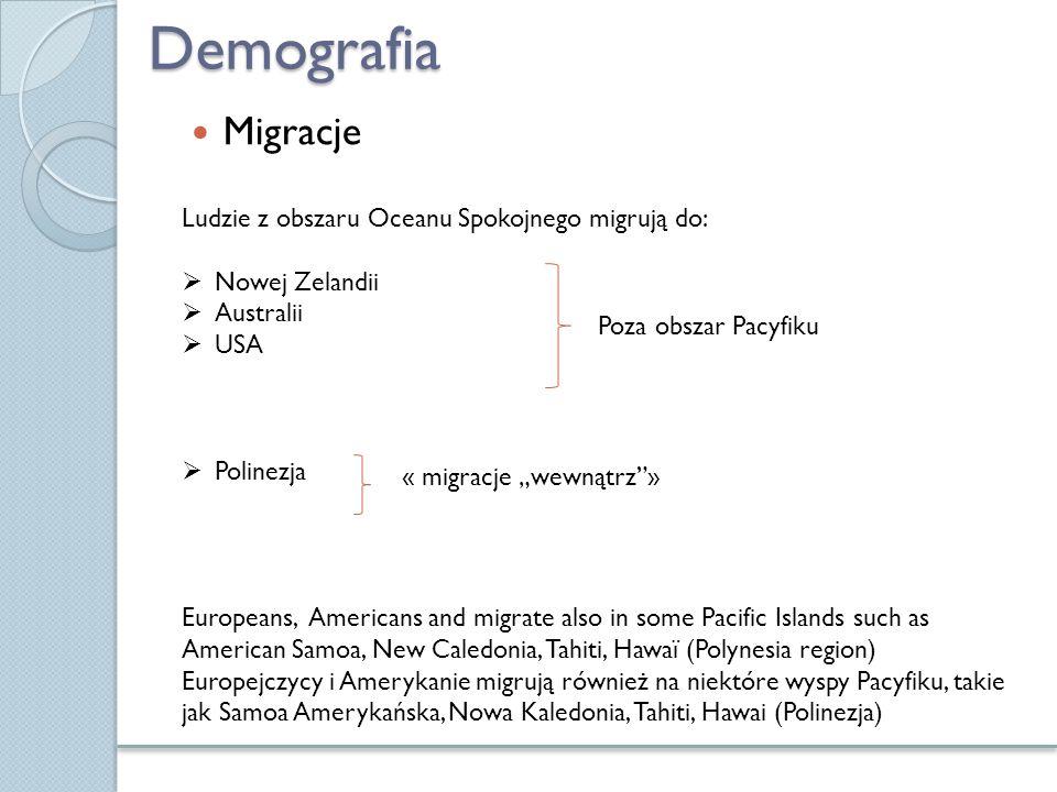 """Demografia Migracje Ludzie z obszaru Oceanu Spokojnego migrują do:  Nowej Zelandii  Australii  USA  Polinezja Poza obszar Pacyfiku « migracje """"wew"""