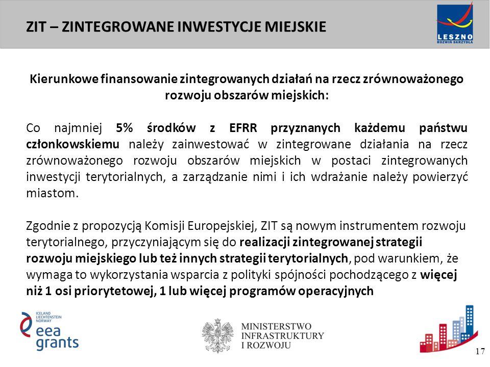 W ramach Programu planowana jest realizacja zintegrowanych projektów w formule ZIT (Zintegrowane Inwestycje Terytorialne).