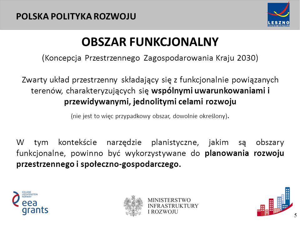 """OBSZAR FUNKCJONALNY POWINIEN BYĆ: - Spójny pod względem funkcjonowania - Efektywny pod względem zarządzania Generujący:  wysoką efektywność transportowo-osadniczą  wysoką jakość życia  optymalną obsługę infrastrukturalną (przede wszystkim usługi publiczne) """"OPTYMALNY OBSZAR FUNKCJONALNY 6"""