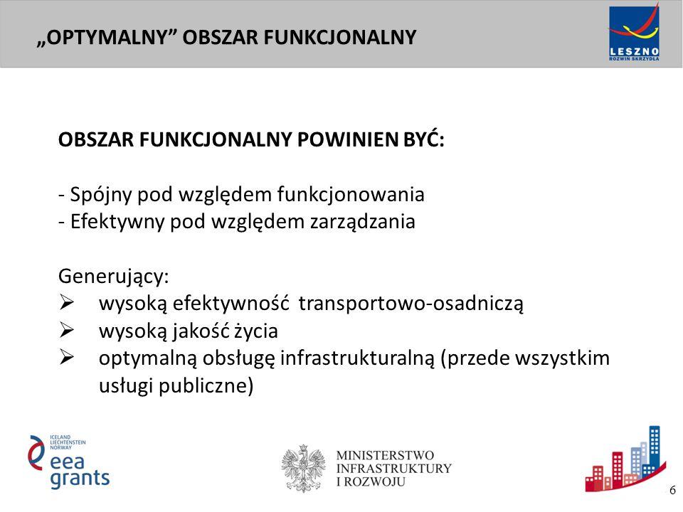 OBSZAR FUNKCJONALNY POWINIEN BYĆ: - Spójny pod względem funkcjonowania - Efektywny pod względem zarządzania Generujący:  wysoką efektywność transport