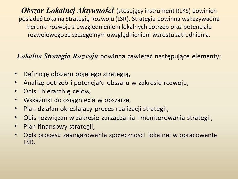 Obszar Lokalnej Aktywności (stosujący instrument RLKS) powinien posiadać Lokalną Strategię Rozwoju (LSR). Strategia powinna wskazywać na kierunki rozw