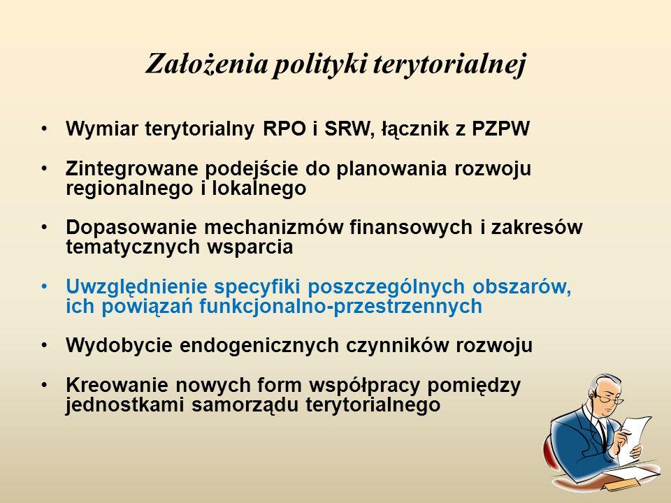 Założenia polityki terytorialnej Wymiar terytorialny RPO i SRW, łącznik z PZPW Zintegrowane podejście do planowania rozwoju regionalnego i lokalnego D