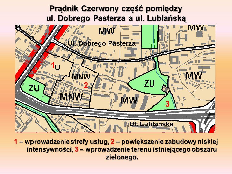 Prądnik Czerwony część pomiędzy ul. Dobrego Pasterza a ul. Lublańską 1 – wprowadzenie strefy usług, 2 – powiększenie zabudowy niskiej intensywności, 3