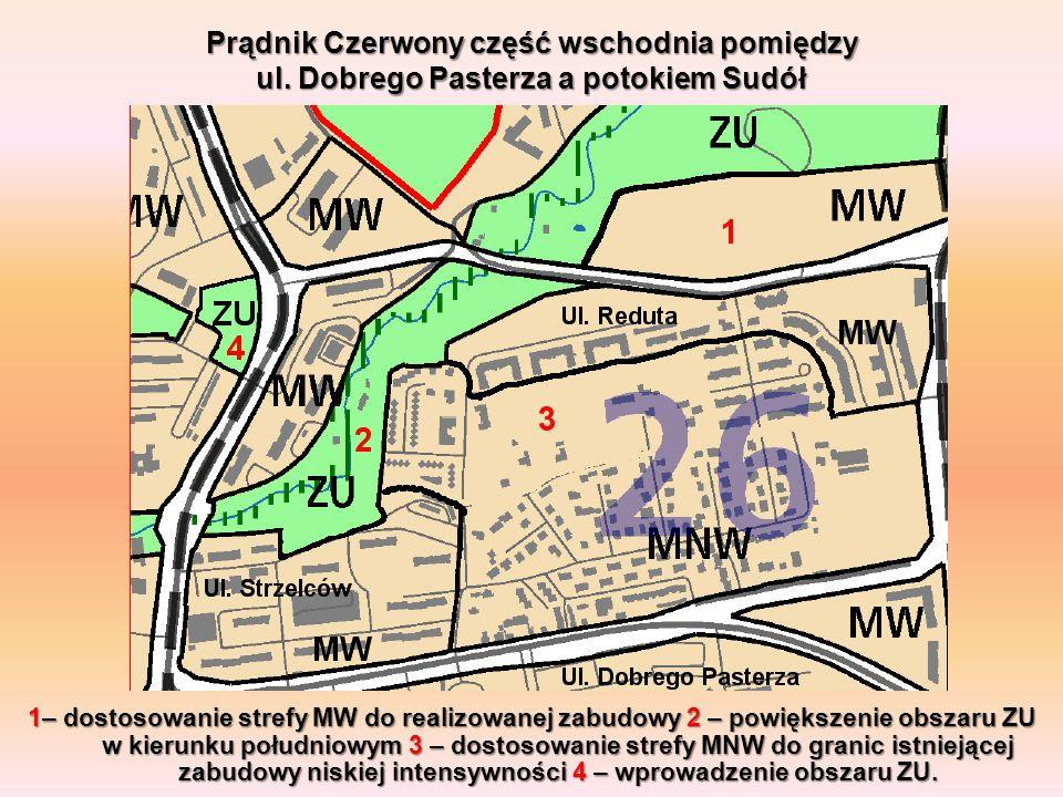 Prądnik Czerwony część wschodnia pomiędzy ul. Dobrego Pasterza a potokiem Sudół 1– dostosowanie strefy MW do realizowanej zabudowy 2 – powiększenie ob