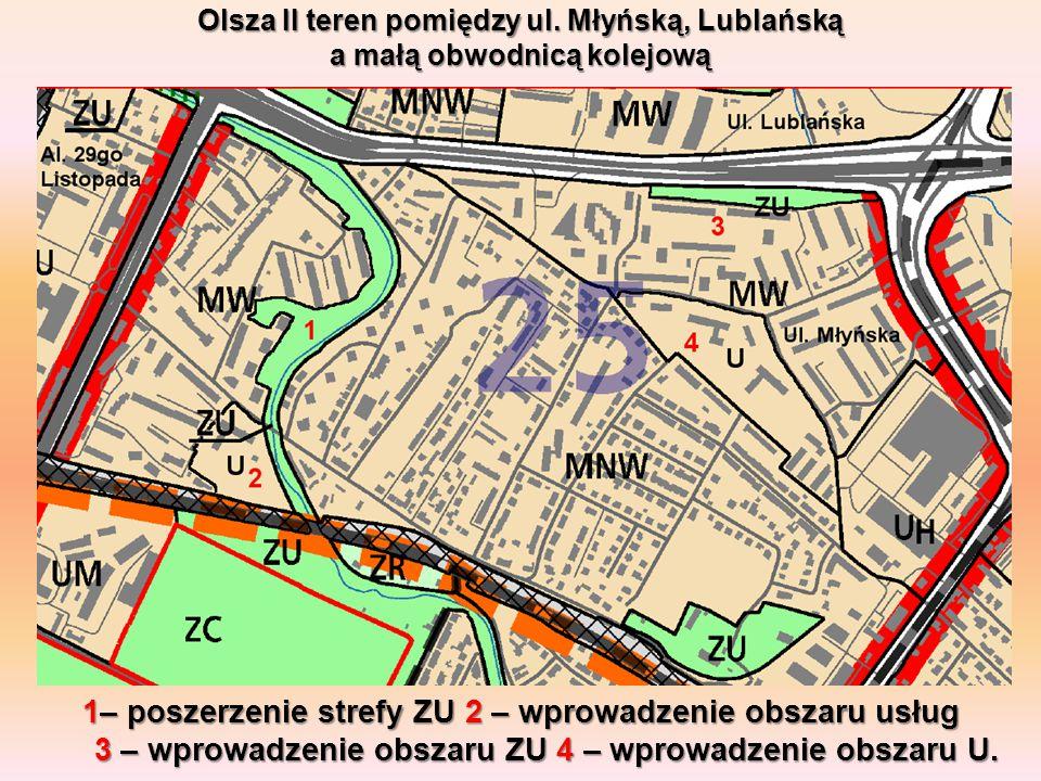 Olsza II teren pomiędzy ul. Młyńską, Lublańską a małą obwodnicą kolejową 1– poszerzenie strefy ZU 2 – wprowadzenie obszaru usług 3 – wprowadzenie obsz