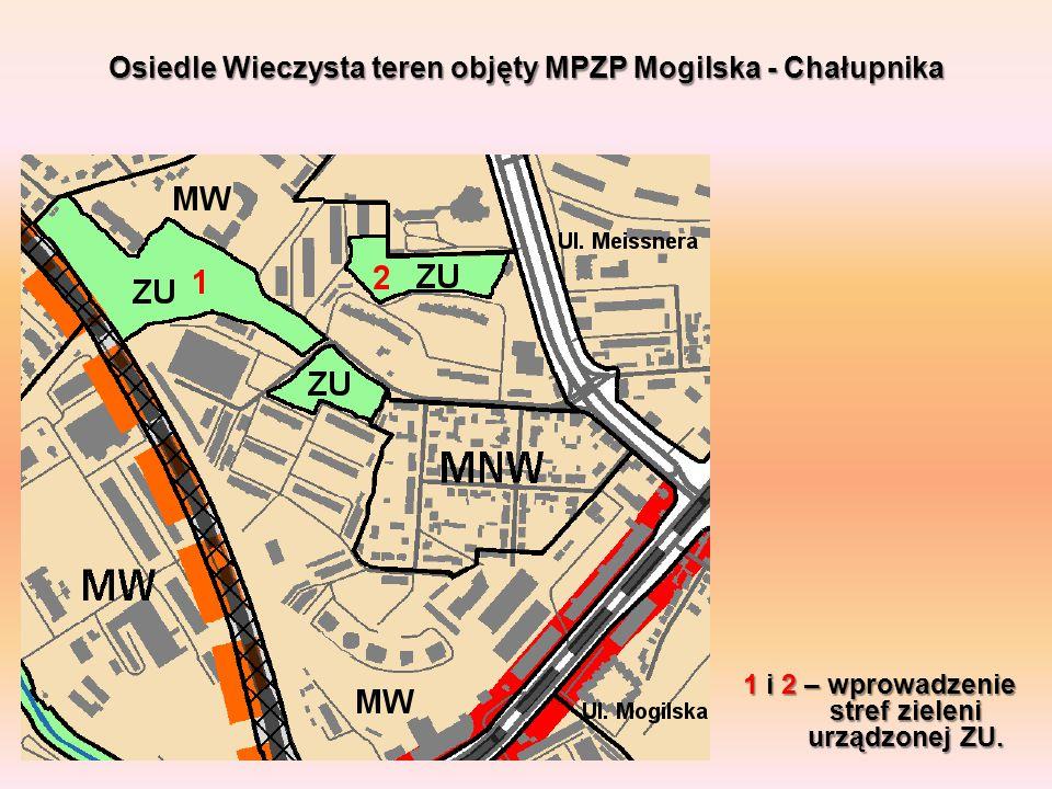 1 i 2 – wprowadzenie stref zieleni urządzonej ZU. Osiedle Wieczysta teren objęty MPZP Mogilska - Chałupnika
