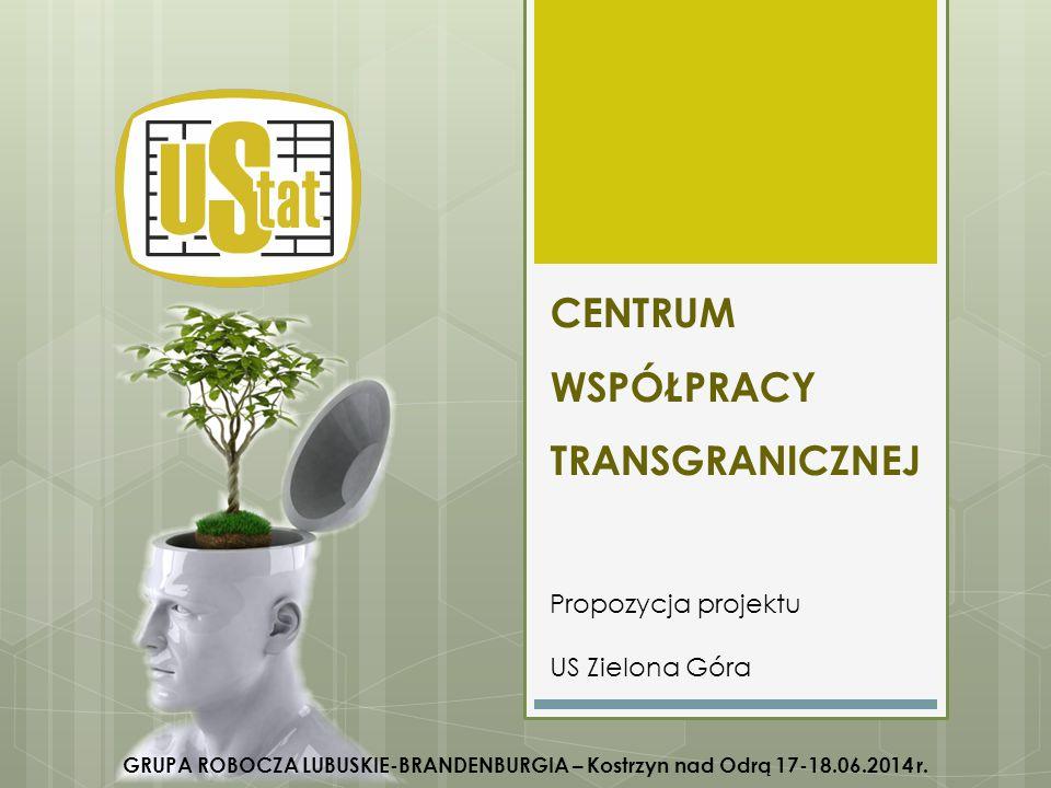 CENTRUM WSPÓŁPRACY TRANSGRANICZNEJ Propozycja projektu US Zielona Góra GRUPA ROBOCZA LUBUSKIE-BRANDENBURGIA – Kostrzyn nad Odrą 17-18.06.2014 r.