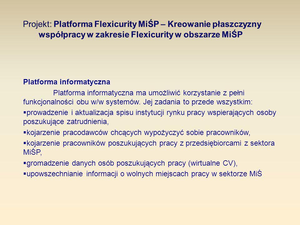 Platforma informatyczna Platforma informatyczna ma umożliwić korzystanie z pełni funkcjonalności obu w/w systemów. Jej zadania to przede wszystkim: 