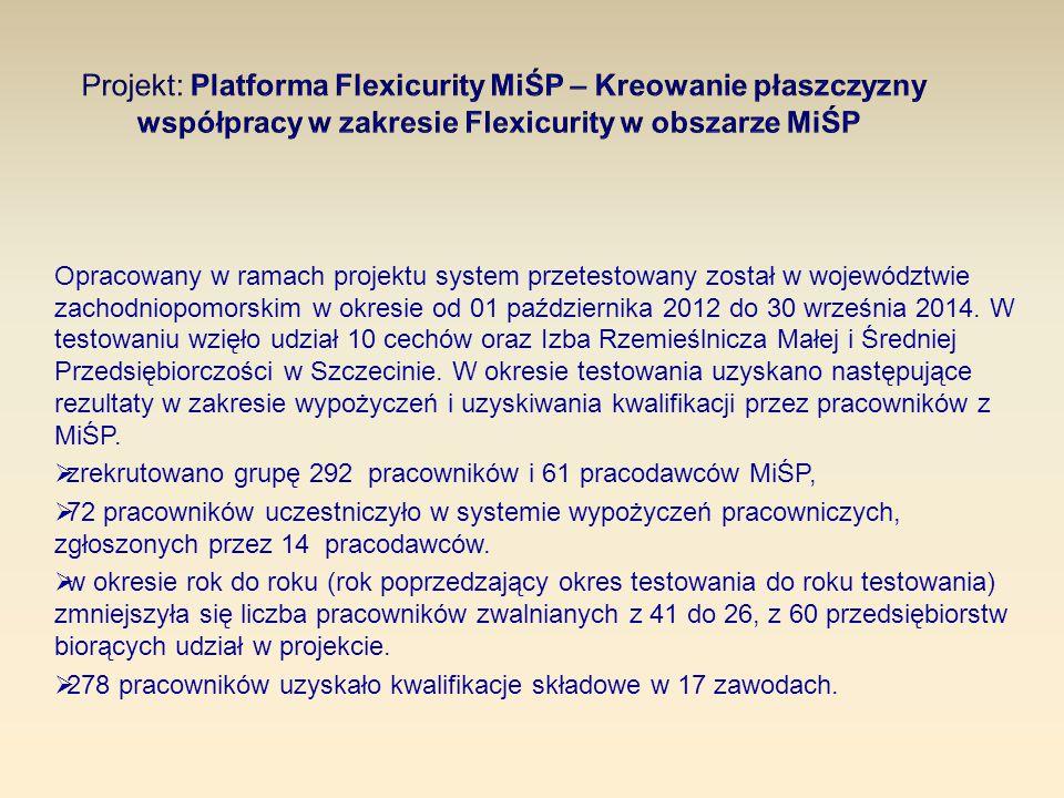 Opracowany w ramach projektu system przetestowany został w województwie zachodniopomorskim w okresie od 01 października 2012 do 30 września 2014. W te