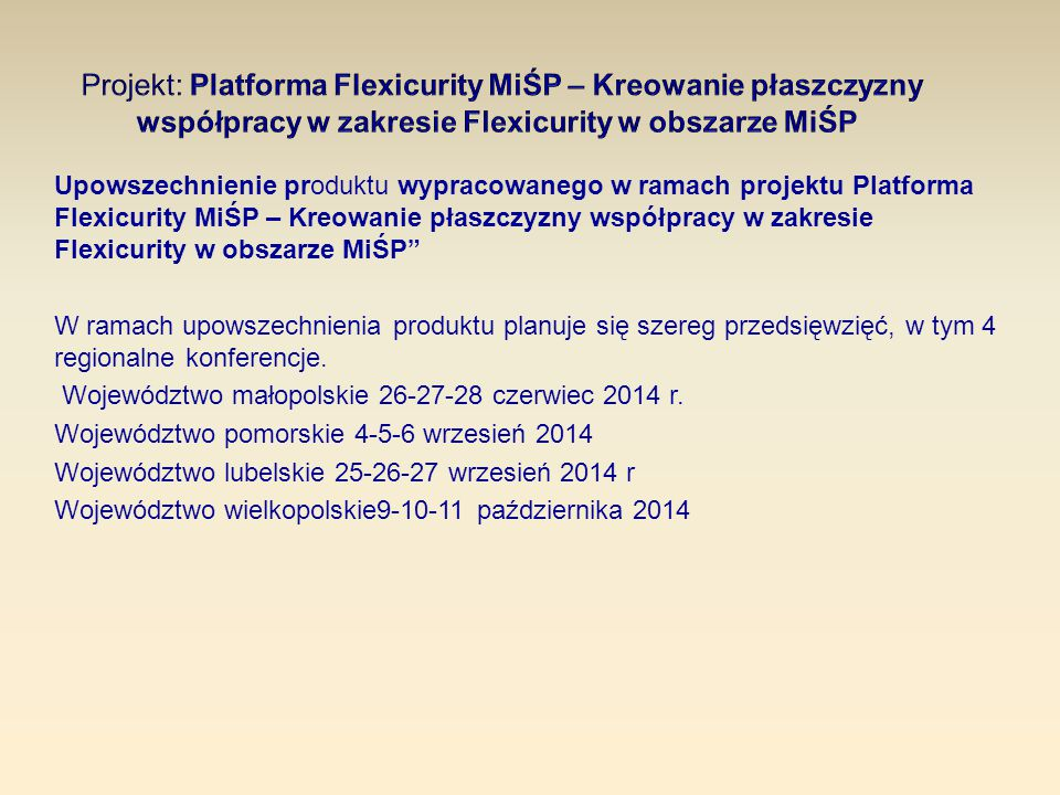 Upowszechnienie produktu wypracowanego w ramach projektu Platforma Flexicurity MiŚP – Kreowanie płaszczyzny współpracy w zakresie Flexicurity w obszar